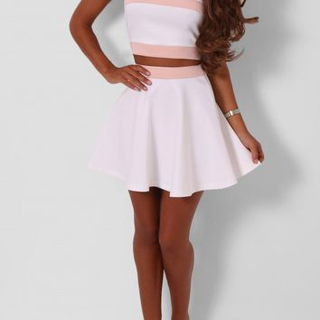 Khloe White and Nude Two Piece | Pink Boutique