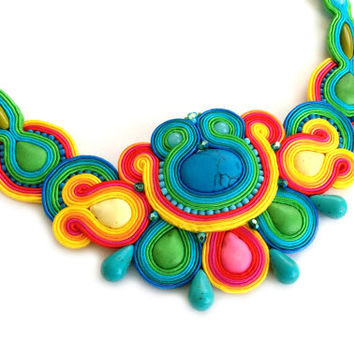 Colorful statement necklace - Bib necklace statement - Rainbow statement necklace - Soutache necklace - Whimsical wedding necklace - Rainbow