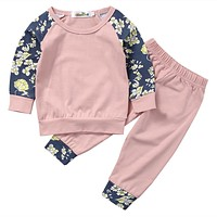 Baby Sets baby Girls clothing set autumn Newborn Baby Girls Floral Outfits Clothes T-shirt Pants Trousers Clothes Set Play suit