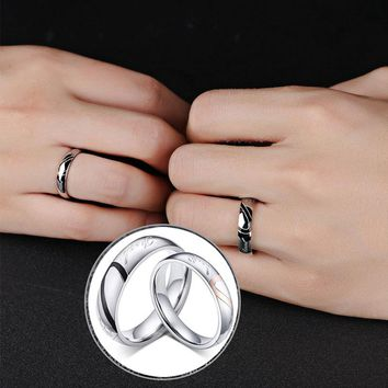 1 piece Lovers Heart Titanium Steel ring Simple Circle Love Promise Ring Couple Wedding Bands Engagement Rings lover gifts