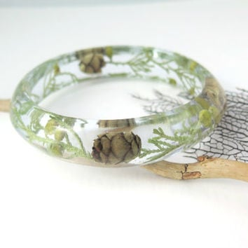 Real Flower Bangle Bracelet Size XL - Resin Bangle Resin Bracelet -  Pressed flowers Bracelet -Bangle Bracelet, Chunky bangle