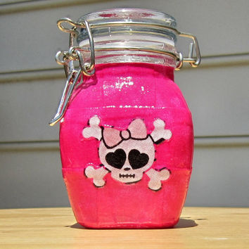 Glass Latch-Top Apothecary Jar - Small : Bright Hot Pink with Girly Skull