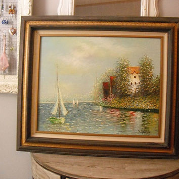 Vintage framed nautical beach sail boat Oil painting .... Very airy and lovely  ... signed