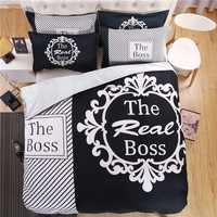 "New 3D Couple's Bedding Set Initial ""The Real BOSS"" Striped Duvet Cover with Pillowcases Bedlinen Queen King Size Black White"