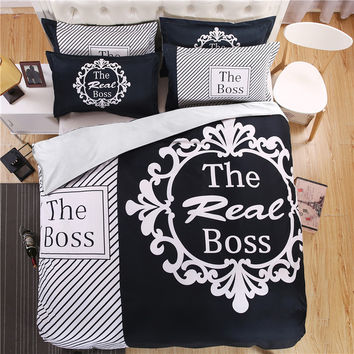 "3D Couple's Bedding Set Initial ""The Real BOSS"" Striped Duvet Cover with Pillowcases"