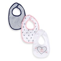 Sterling Baby 3-Pack Nautical Themed Bibs in Navy/Pink