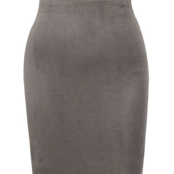Clothing : Bodycon Dresses : 'Pia' Taupe Suedette Strapless Bodycon Dress