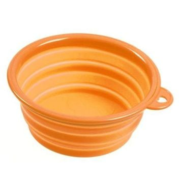 Silicone Pet Food Basin Foldable Portable Cat Pet Dog Bowl   orange