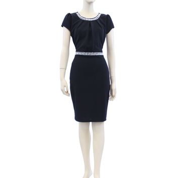 Solid Short Sleeve Crew Neck Knee Length Midi Dress Size S M L KL0231