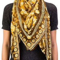DCCK3SY Versace Women's Floral Animal Print Modal Cashmere Blend Scarf Brown
