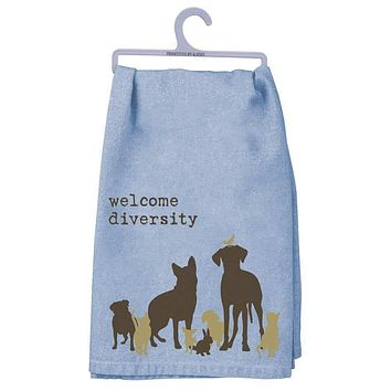 Welcome Diversity Dish Towel with Dogs, Cats, Birds in Blue