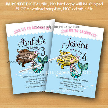 Mermaid birthday party invitation for any age, retro mermaid under the sea, 1st 2nd 3rd 4th 5th 6th 8th 9th 10th little girl - 836
