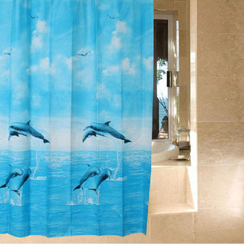 180 x 180cm Dolphin Waterproof Fabric Bathroom Shower Curtain Light Blue With 12pcs Curtain Hooks Rings
