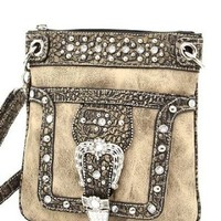 Taupe Western Rhinestone Buckle Crocodile Hipster Cross Body Purse