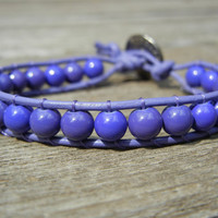 Purple Beaded Leather Single Wrap Bracelet
