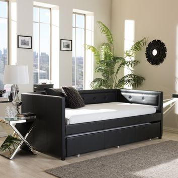 Baxton Studio Frank Modern and Contemporary Black Faux Leather Button-Tufting Sofa Twin Daybed with Roll-Out Trundle Guest Bed Set of 1
