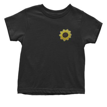 Embroidered Sunflower Patch (Pocket Print) Toddler T-Shirt