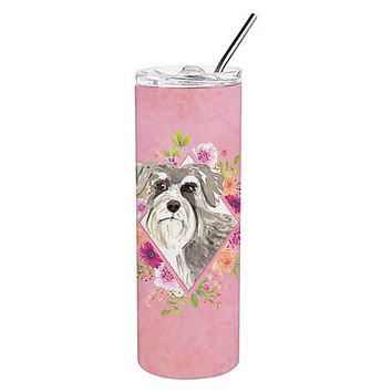 Schnauzer #1 Pink Flowers Double Walled Stainless Steel 20 oz Skinny Tumbler CK4215TBL20