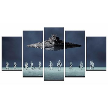 Canvas Home Decor Modular Wall Art Pictures Framework 5 Pieces Popular Movie Star Wars Painting Living Room HD Printed Poster