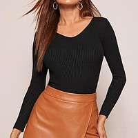 Solid V Neck Slim Fitted Stretchy Basics Sweater Women  Long Sleeve Office Ladies Ribbed Knit Casual Sweaters