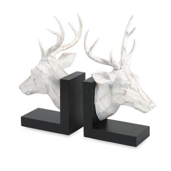 Carved White Deer Bookends