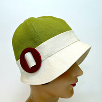 1920s Style Cloche in Chartreuse and Cream Linen - Made to Order in Your Size