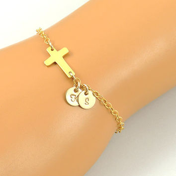 Gold Sideways Cross Initial Bracelet. Gold Cross. Personalized Initials. Cross Jewelry. Love Faith Blessing. Family Mom Sister Bracelet.
