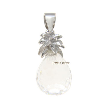 FACETED WHITE CRYSTAL HAWAIIAN PINEAPPLE CHARM PENDANT 925 STERLING SILVER 9.8MM