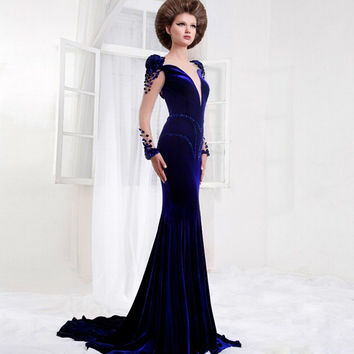 Elegant Ceremonial Navy Blue Long Dress Sleeve Open Back Mermaids Velvet Evening Gowns For Prom Abaya Boutique Evening Dresses