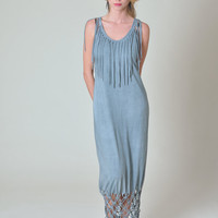 Blue Grey Maxi Dress - boho style summer cover up beach dress - Women's tunic dress by Texturable