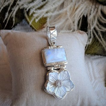 Unique Artisan Crafted Sterling Silver Moonstone MOP White Topaz Pendant