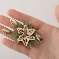 Hair pin-brooch made of polymer clay Lily