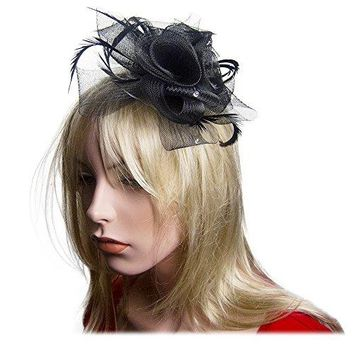 SACASUSA Flower Fascinator Crystals Mesh Gauze Cocktail Headwear Hair Clip Brooch Pin