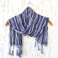Handwoven infinity scarf,  Navy Blue,Grey Stıriped Scarves, Natural,Organic Scarf, Fashion accessories, Women Scarves