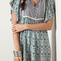 V-Neck Peasant Dress