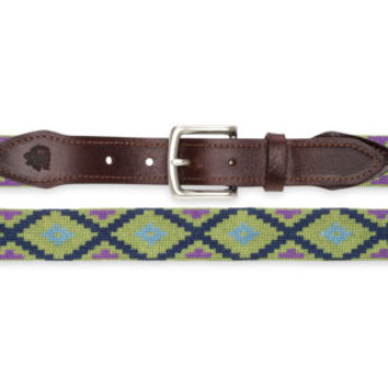 Aztec Needlepoint Belt (Green)
