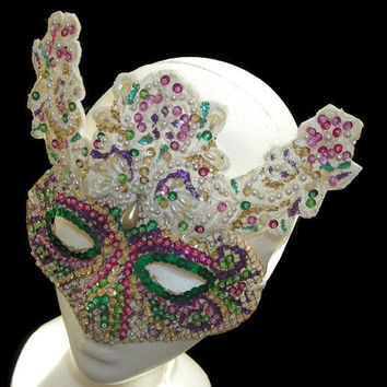 White Lace Venetian Mask, Upcycled Hand Beaded Handmade New Years Eve Masquerade Mask, Lace Mask, Pearl Bead & Sequin Mask, Free US Shipping