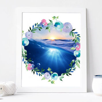 Sea Flower Wreath, Sunrise, Sun, Watercolor Sea Digital Print, Wall Decor, Typography, Water, Aqua, Ocean, Travel, Home Decor, Poster Art