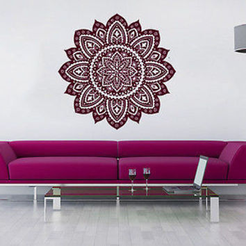 Wall Decal Mandala Vinyl Sticker Decals Lotus Flower Yoga Namaste Bedroom C557