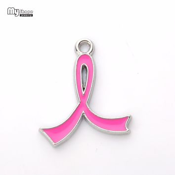 my shape Newest 20pcs/lot Alloy Metal Pink Breast Cancer Awareness Five Colors Enamel Ribbon Charms For DIY Jewelry Making