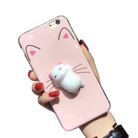Cute Mobile Phone Shell Soft Silicone Stereo Cat Handset Case for iPhone 7plus Fancy Cat Paw Hot Pink Decompression Phone Cover
