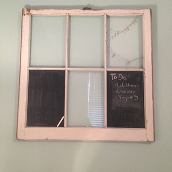 Re-purposed Window Chalk Board and Picture Frame