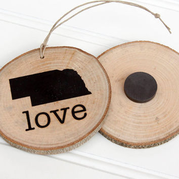 Nebraska Love state shape Maple wood slice ornament or magnet Set of 4.  Wedding favor, Bridal Shower, Country Chic, Rustic, Valentine Gift
