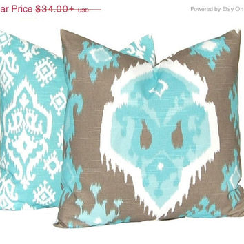 SALE Pillows, Decorative Throw Pillow Covers, Pair of Two,  Home Decor Brown and Aqua Premier Ikat and Raji Cushion Cover Toss Pillow All Si
