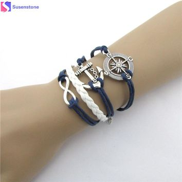 SUSENSTONE 2016 New Hot Infinity Love Anchor Compass Leather Charm Bracelet Plated Silver Frindship bracelets for women #0