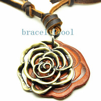 soft leather necklace Rose pendant men leather long necklace, women leather necklace  CR25