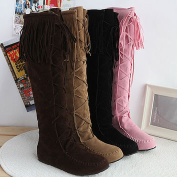 AA224 Flock Leather Lace Up Women Fringe Flat Heels Long Boots Woman Spring Autumn Tassel Knee High Boots Plus Size 41 42 43