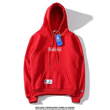 Supreme & Champion Fashion New Bust Letter Print And Cap Embroidery Letter Women Men Hooded Long Sleeve Sweater Red