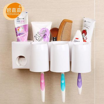 BEEGAGA Suction Cup Multifunctional Automatic Toothpaste Dispenser Toothbrush Holder Tooth Mug Bathroom Organizer Stand 4Pcs Set