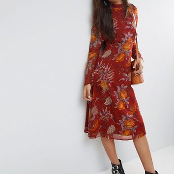 ASOS TALL Midi Dress in Botanical Rose Floral With Open Back at asos.com